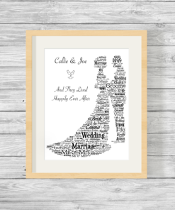 Bespoke Personalised Newlyweds Word Art Print Gift