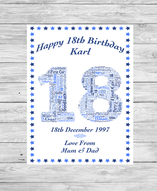 Birthday Number Personalised Word Art Print Stars Border