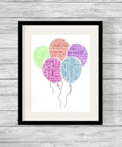 Bespoke Personalised Birthday Balloons Word Art Print