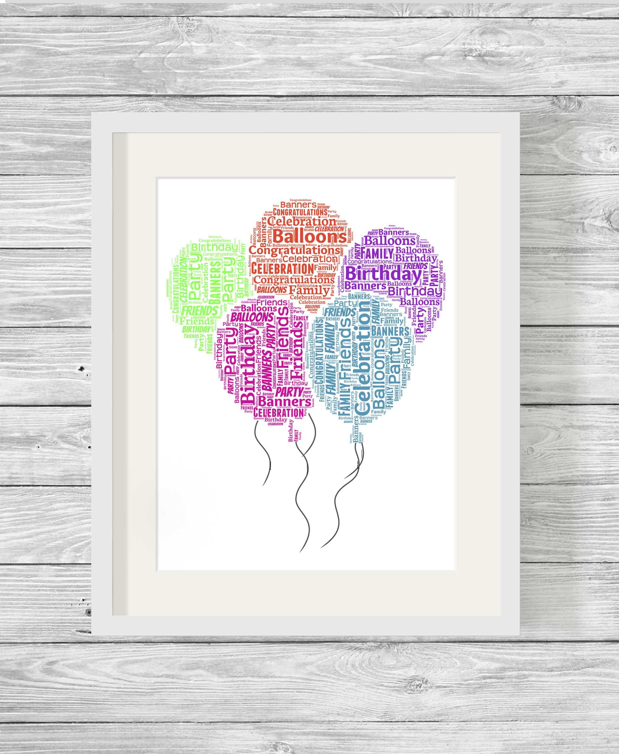 Bespoke Personalised Birthday Balloons Word Art Print
