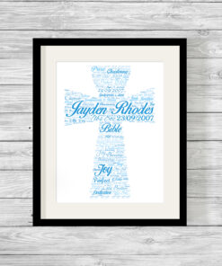 Personalised Bespoke Blue Cross Christening Word Art Print
