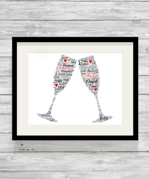 Champagne Flutes Bespoke Personalised Word Art Print