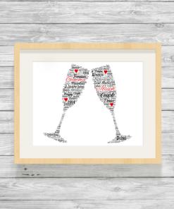 Champagne Flutes Bespoke Personalised Word Art Print