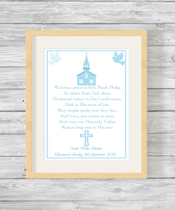 Bespoke Personalised Christening Poem Print in Blue