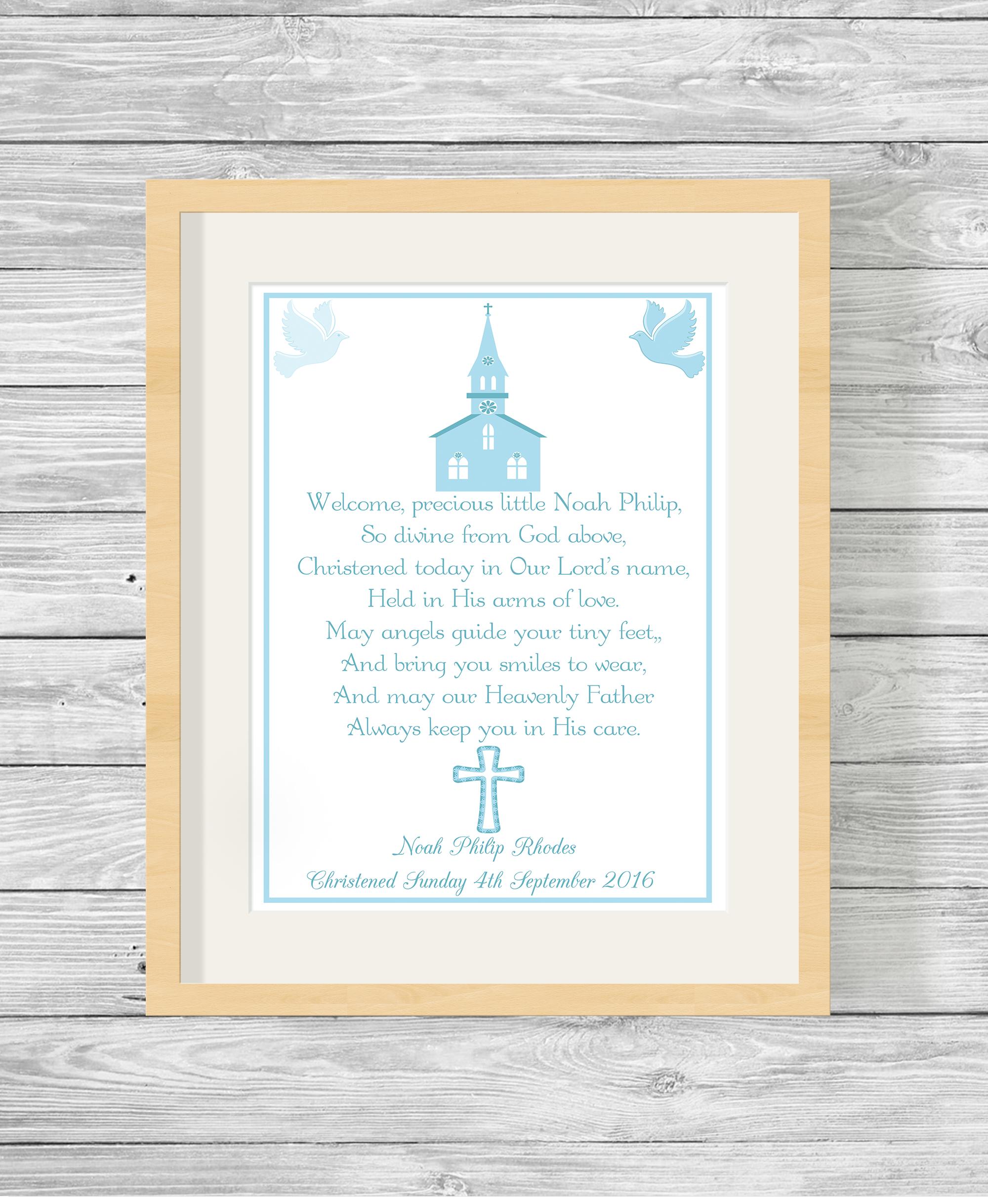 Bespoke Personalised Christening Poem Print Blue Show It