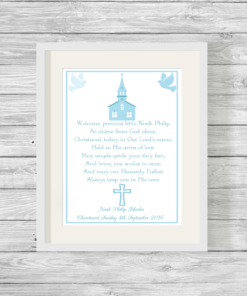 Bespoke Personalised Christening Poem Print Blue