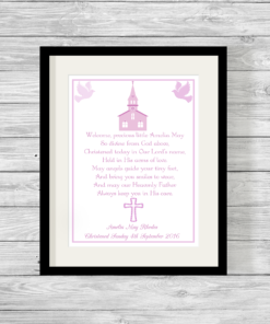 Bespoke Personalised Christening Poem Print in Pink