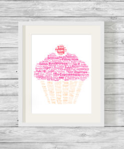 Personalised Bespoke Cupcake Word Art Print Picture
