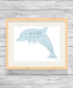 Personalised Bespoke Dolphin Word Art Print Gift