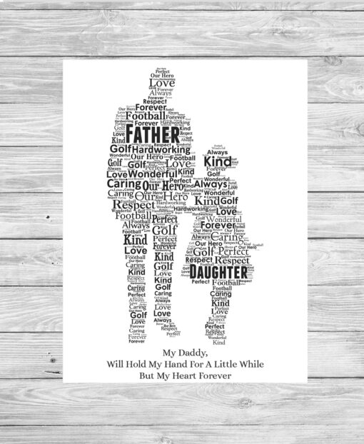 Bespoke Personalised Father and Daughter Word Art Print