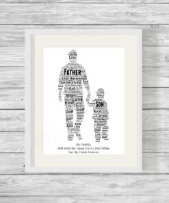 Bespoke Personalised Father and Son Word Art Print