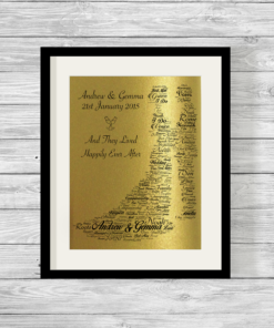 Bride and Groom Bespoke Personalised Word Art Print Pearlescent