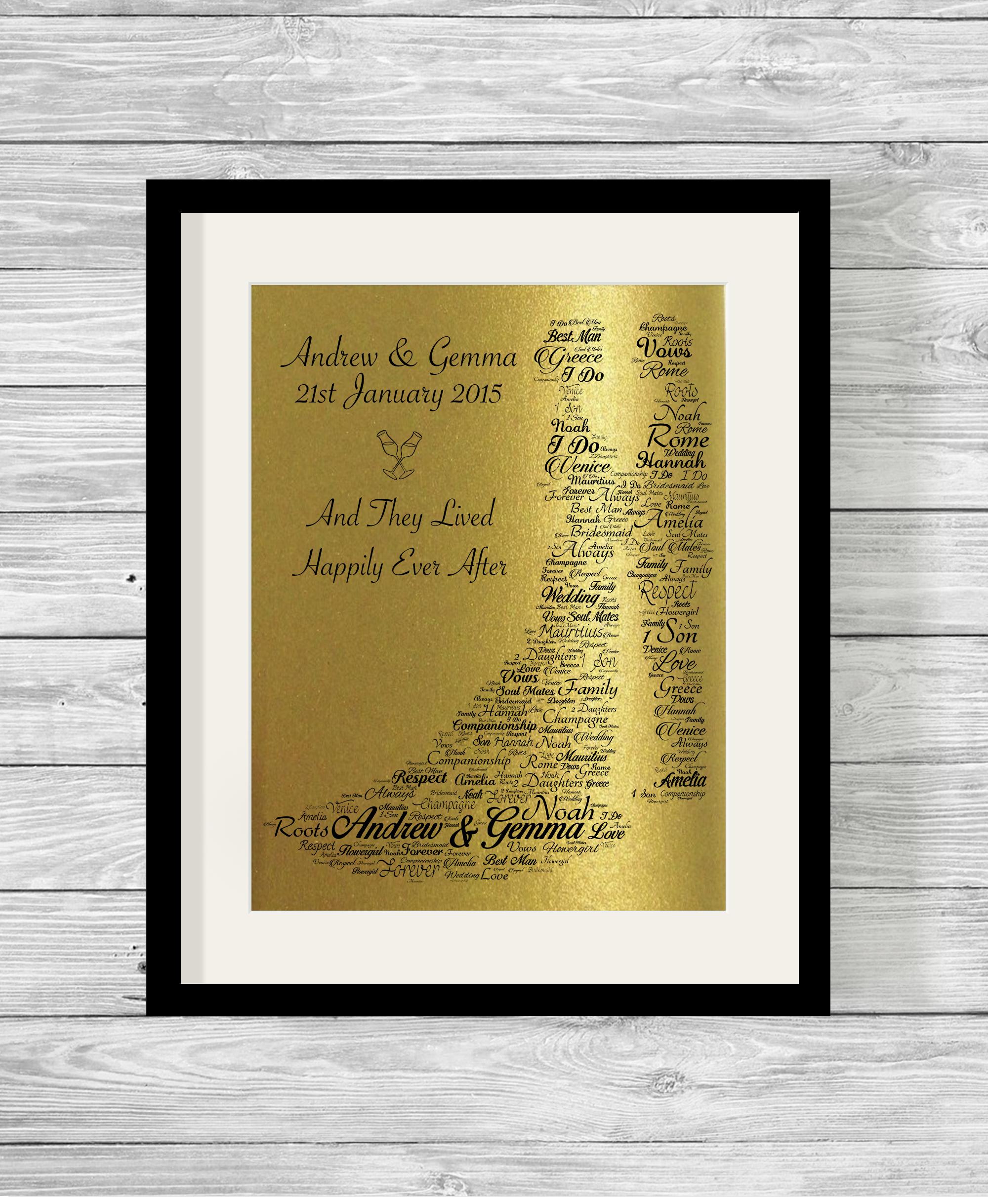 Bride and Groom Bespoke Personalised Word Art Print Pearlescent