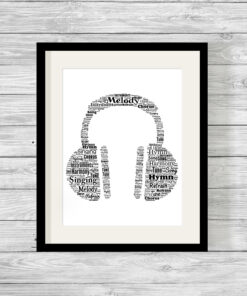 Personalised Bespoke Headphones Word Art Print