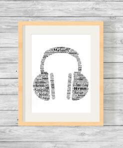 Personalised Bespoke Headphones Word Art Print