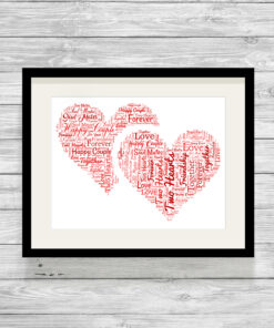 Personalised Bespoke Love Hearts Word Art Print