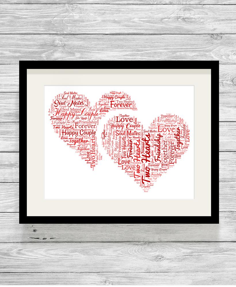personalised bespoke love hearts word art print