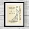 Newlywed Bespoke Personalised Word Art Print Pearlescent