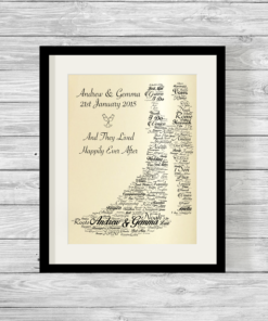 Newlywed Bespoke Personalised Word Art Print Pearlescent