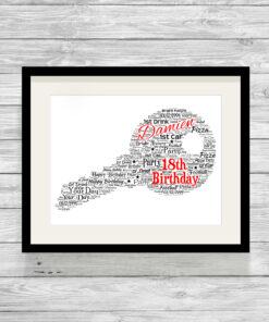 Personalised Bespoke Birthday Key Word Art Print
