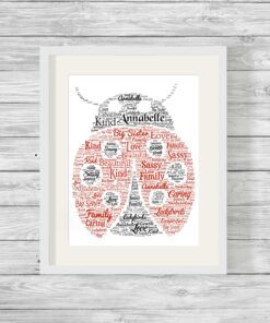 Bespoke Personalised Ladybird Word Art Print