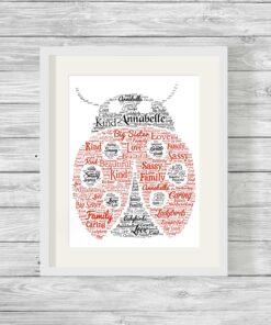Bespoke Personalised Ladybird Word Art Print