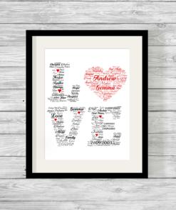 Bespoke Personalised Love Word Art Print