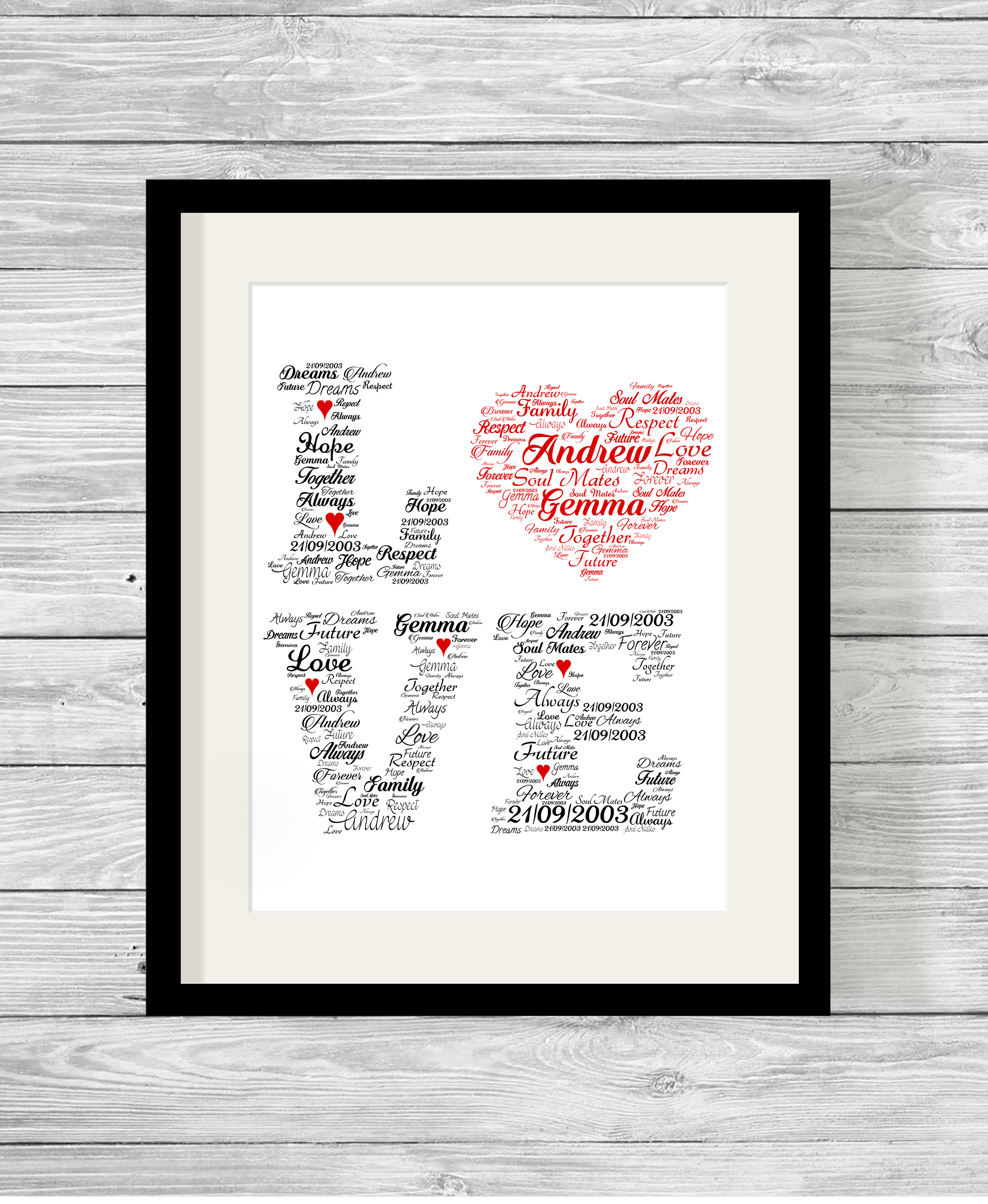 Bespoke Personalised Love Word Art Print