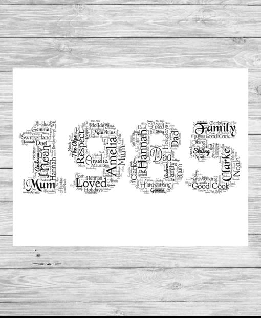 Bespoke Personalised Special Year Word Art Print