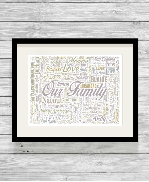 Bespoke Personalised Our Family Typography Word Art Print