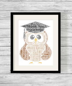 Bespoke Personalised Graduation Owl Word Art Print