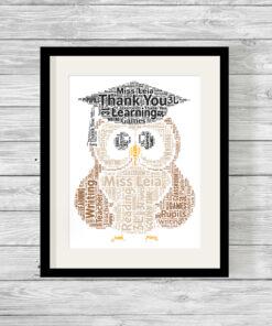 Bespoke Personalised Graduation Owl Word Art Print