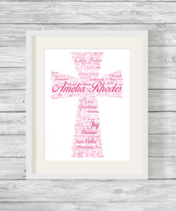 Personalised Bespoke Pink Cross Christening Word Art Print