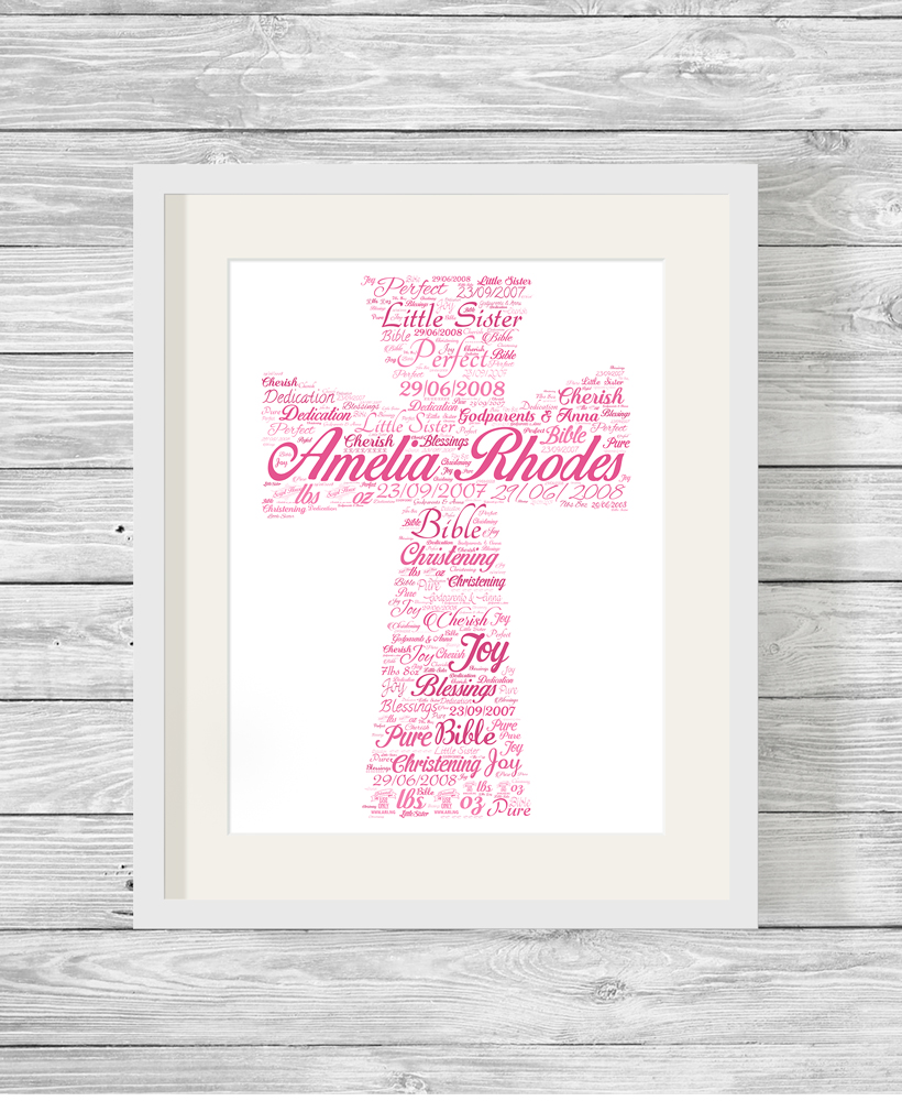 Personalised Bespoke Pink Cross Christening Word Art Print