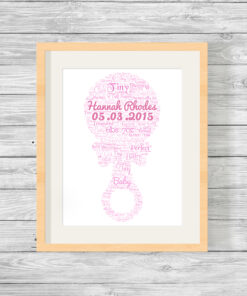 Personalised Bespoke Pink Rattle Baby Word Art Print