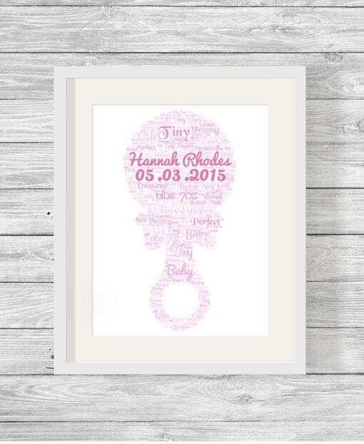 Personalised Bespoke Pink Rattle Baby Word Art Print