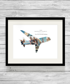 Bespoke Personalised Aeroplane First Holiday Photo Collage Print
