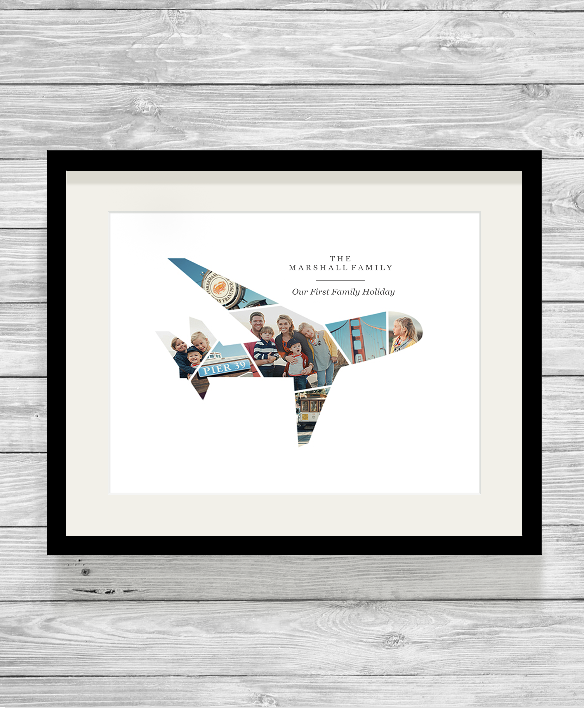 Bespoke Personalised Aeroplane First Holiday Photo Collage Print