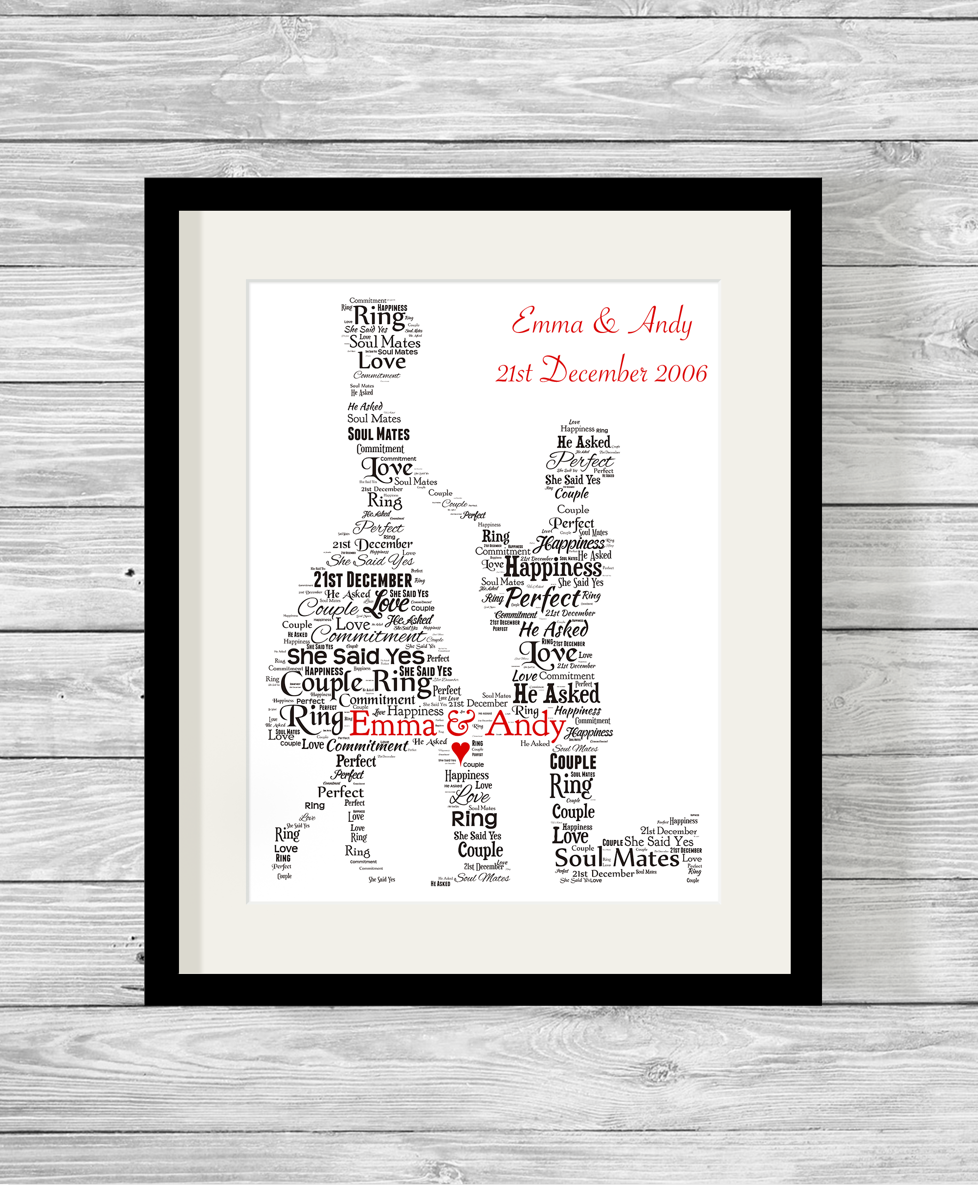 Bespoke Personalised Engagement Proposal Word Art Print