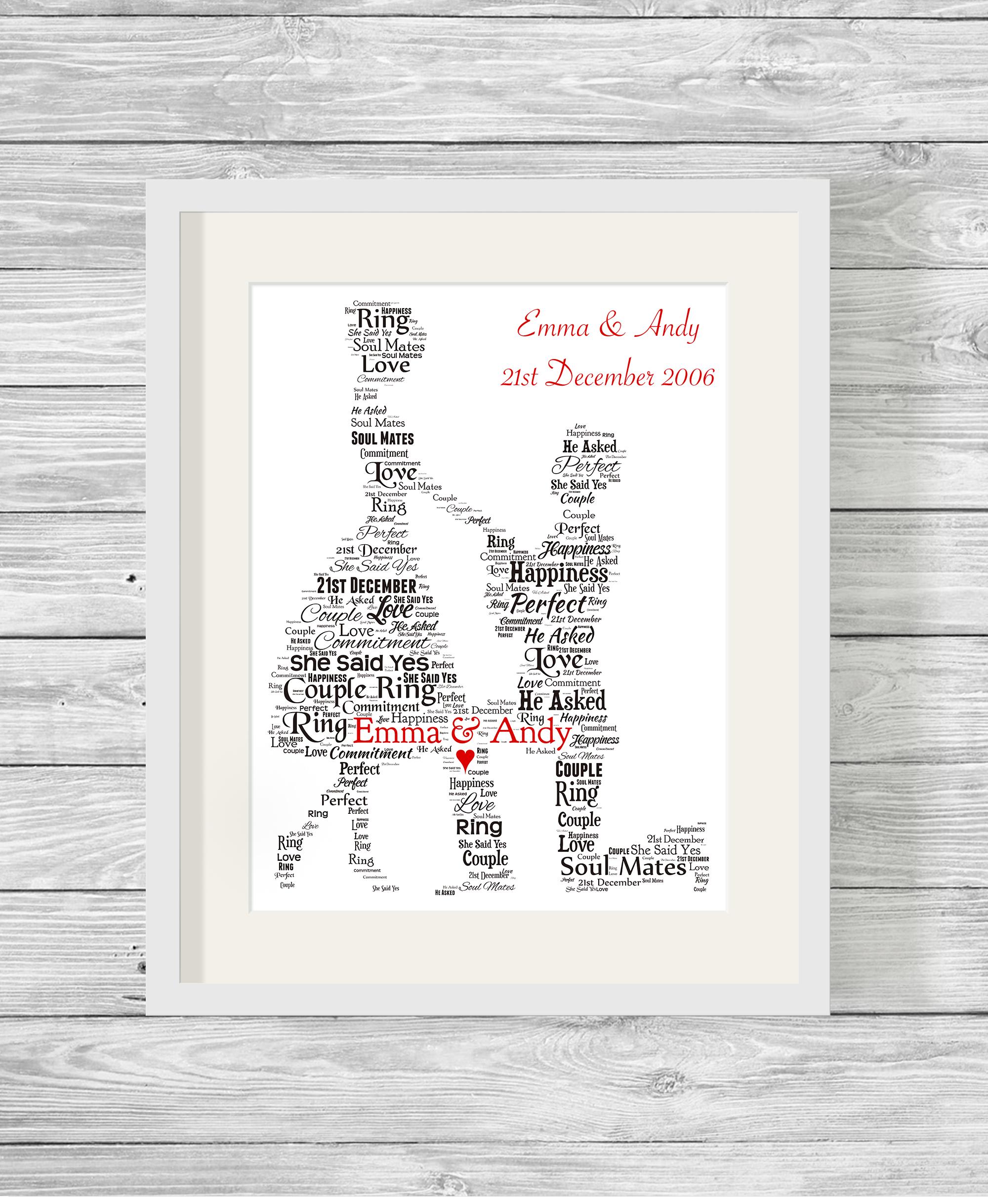 Bespoke Personalised Engagement Proposal Word Art Print