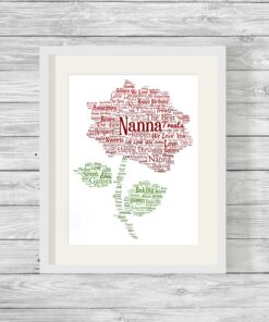 Bespoke Personalised Rose Word Art Print