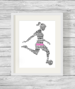 Bespoke Personalised Girl Footballer Word Art Print