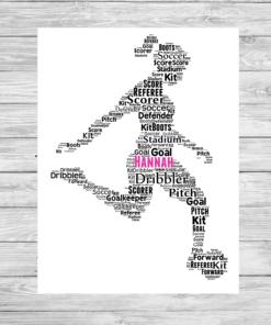Bespoke Personalised Girl Footballer Word Art Print