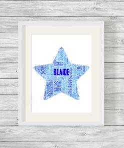 Bespoke Personalised Star Word Art Print