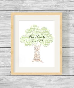 Bespoke Personalised Our Family Tree Word Art Print