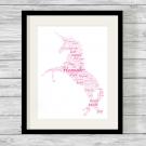 Bespoke Personalised Unicorn Word Art Print