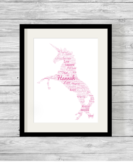 Bespoke Personalised Unicorn Word Art Print