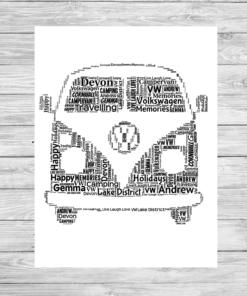 Bespoke Personalised Camper Van Word Art Print