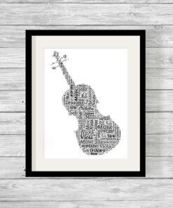 Bespoke Personalised Viola Word Art Print