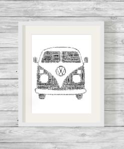Bespoke Personalised Campervan Word Art Print